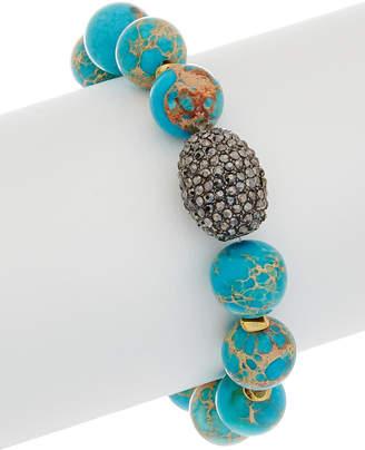 Rachel Reinhardt Turquoise & Crystal Stretch Bracelet