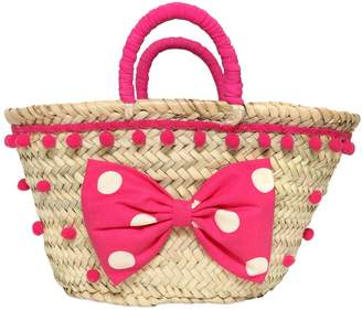 La Stupenderia Straw Bag W/ Pompoms & Bow