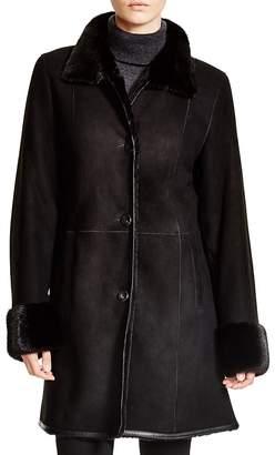 Maximilian Furs Maximilian Shearling Coat with Mink Collar & Cuffs