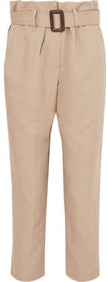 Brunello Cucinelli Belted Linen And Cotton-blend Tapered Pants