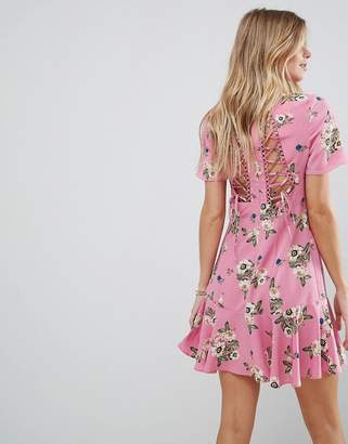 Asos Lace Up Back Tea mini dress in Pretty Floral