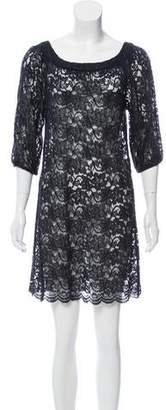 Diane von Furstenberg Semi-Sheer Lace Mini Dress