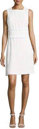 Derek Lam 10 Crosby Sleeveless High-Neck Sheath Dress w/ Fringed Trim
