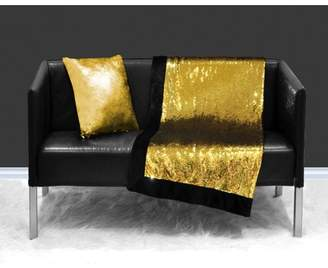 Unbranded Reversible Sequin Sparkle Throw Blanket, Gold Reverse to Silver