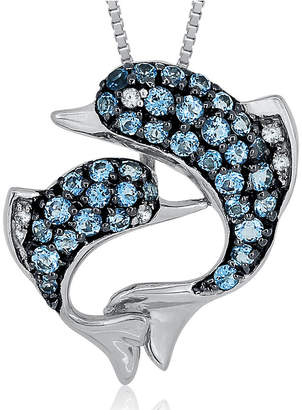 FINE JEWELRY Blue Topaz & Lab-Created White Sapphire Sterling Silver Dolphin Pendant Necklace