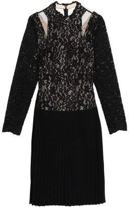 Mikael Aghal Tulle-Paneled Cutout Lace And Pleated Crepe Dress