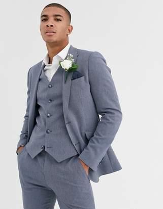 Design DESIGN wedding super skinny suit jacket in blue marl micro texture