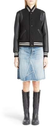 Saint Laurent 'Teddy' Full Leather Sleeve Bomber Jacket