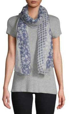 Vince Camuto Torn Floral and Textile Scarf