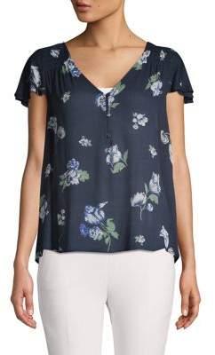 Lucky Brand Floral Flutter-Sleeve Blouse