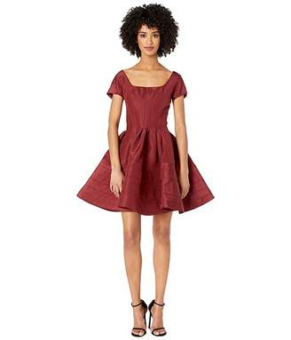 Zac Posen Short Sleeve Boat Neck Fit and Flare Dress