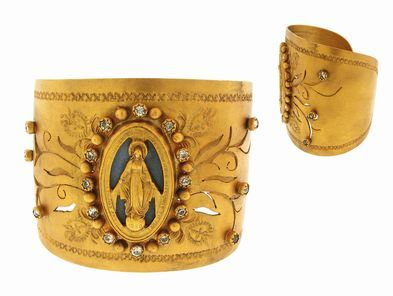 Virgins, Saints & Angels Milagrosa Cuff in Gold | Clear Crystals