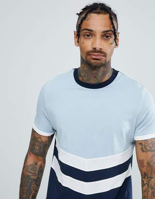 Asos DESIGN t-shirt with contrast yoke and chevron cut and sew in navy