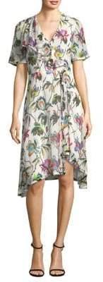 Jason Wu Printed Silk Crinkle Chiffon Shirt Dress