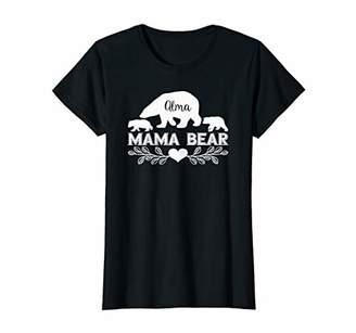Womens Alma Name Polar Mama Bear Family Personalized Silhouette T-Shirt