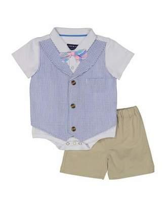 Andy & Evan Seersucker Mock Vest Bodysuit w/ Shorts, Size 3-24 Months