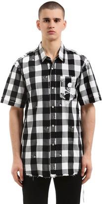 Skull Checked Flannel Short Sleeve Shirt