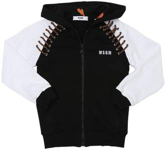 MSGM Hooded Cotton Sweatshirt W/ Laces