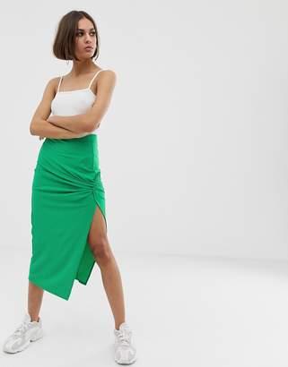 Asos Design DESIGN knot front rib midi skirt