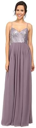 Donna Morgan Halter Neck Gown with Crisscross Women's Dress