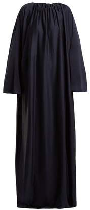The Row Nancy Ruched Neck Silk Charmeuse Dress - Womens - Navy