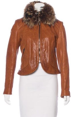 Andrew Marc Fur-Trimmed Leather Jacket $245 thestylecure.com