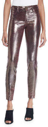 J Brand L8001 Mid-Rise Metallic Leather Leggings