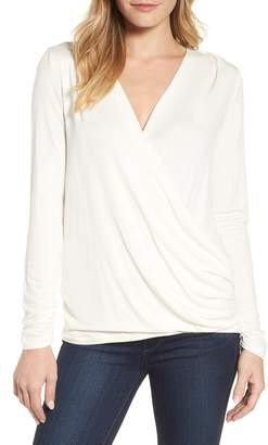 Bobeau Faux Wrap Knit Top