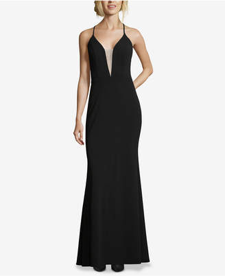 Betsy & Adam Deep-V Strappy Gown