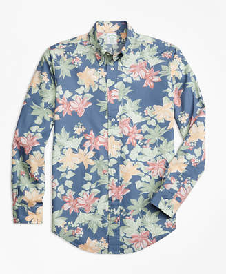 Brooks Brothers Milano Fit Tropical Floral Print Sport Shirt