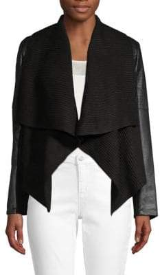 Bagatelle Faux Leather-Trimmed Open-Front Jacket