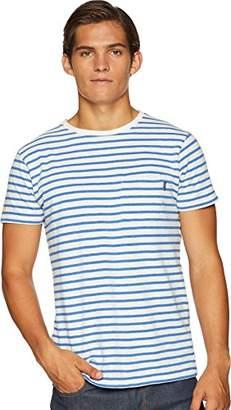 Scotch & Soda Men's AMS Blauw 1 Pocket Regular fit Coloured Striped tee