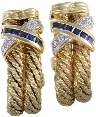 Heritage Armany 18K Two-Tone 0.99 Ct. Tw. Diamond & Sapphire Earrings