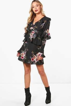 boohoo Ruffle Detail Floral Woven Tea Dress