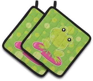Caroline's Treasures Frog on Lily Pad Green Polkadots Pair of Pot Holders