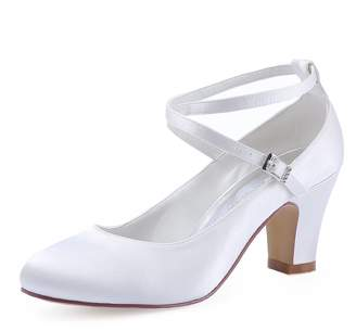 Elegantpark HC1808 Women Cross Ankle Strap Pumps Chucky Heel Closed Toe Satin Bridal Wedding Shoes US 7