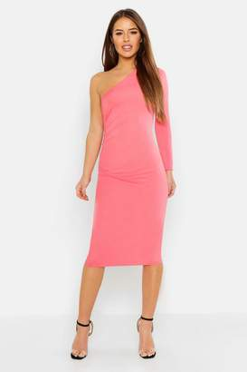 boohoo Petite Gathered Detail One Shoulder Midi Dress
