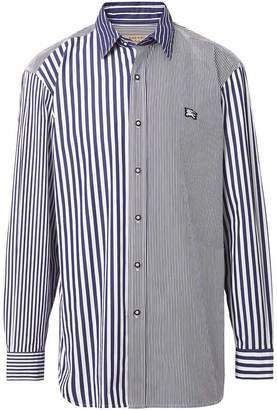 Burberry Contrast Stripe Cotton Poplin Shirt
