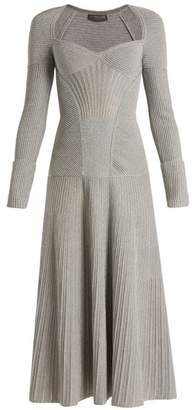 Alexander McQueen Sweetheart Neck Long Sleeved Wool Blend Dress - Womens - Silver