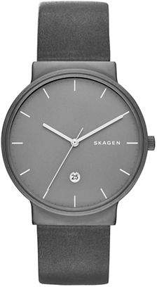 Skagen Analog Ancher Titanium Leather Watch