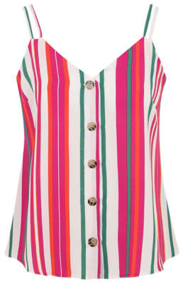 George Stripe Print Button-Front Camisole Top