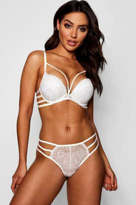 boohoo Glitter Lace & Strapping Super Push Up Bra