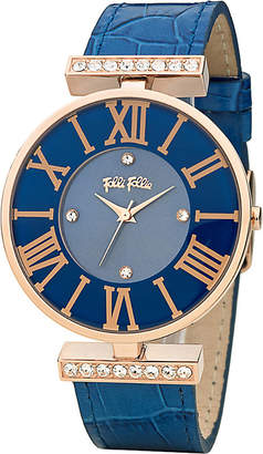 Folli Follie WF1B029SSU_BL Dynasty Large rose gold-plated stainless steel and leather watch