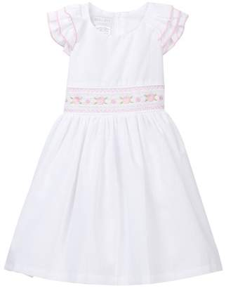 Iris & Ivy Ruffle Shoulder Smocked Waist Dress (Toddler Girls)