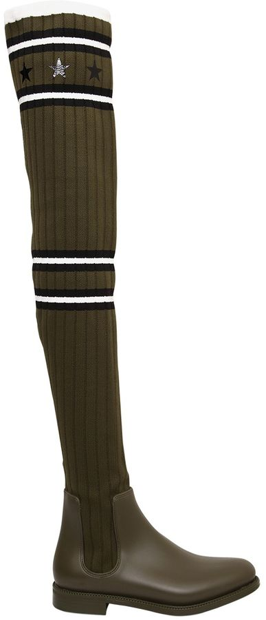 30mm Knit & Rubber Over The Knee Boots