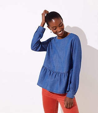 LOFT Chambray Button Back Peplum Blouse