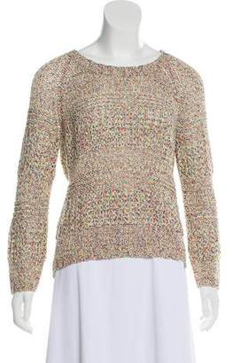 Milly Open-Knit Scoop Neck Sweater
