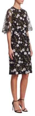 Giambattista Valli Flutter Embroidered Floral Sheath Dress