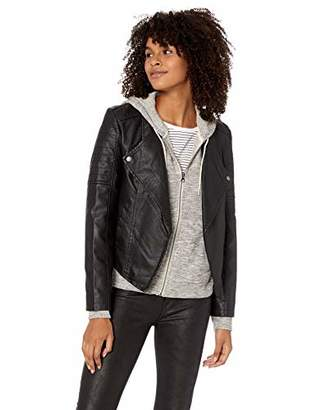 Jack by BB Dakota Junior's One More Time Drape Front Vegan Leather Jacket