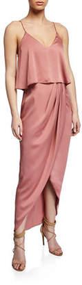 Shona Joy V-Neck Sleeveless High-Low Draped Satin Frill Gown